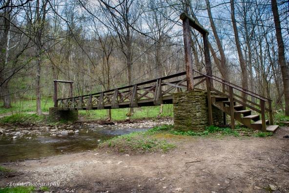 The suspension bridge along the George Trail in Cedar Creek Park.